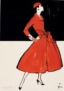 Ohne Titel, 1955, Mode von Dior, veröffentlicht in International Textiles Tuschpinsel und Gouache 39,5 x 27,5 cm © SARL René Gruau